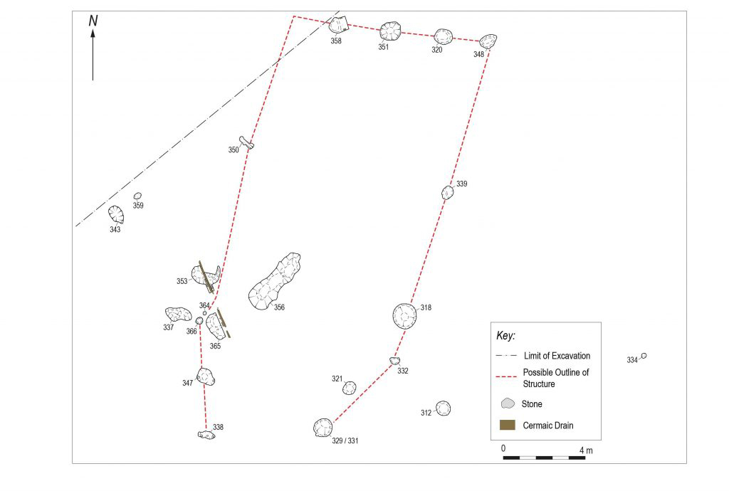 Excavation plan of the Neolithic hall © GUARD Archaeology Ltd