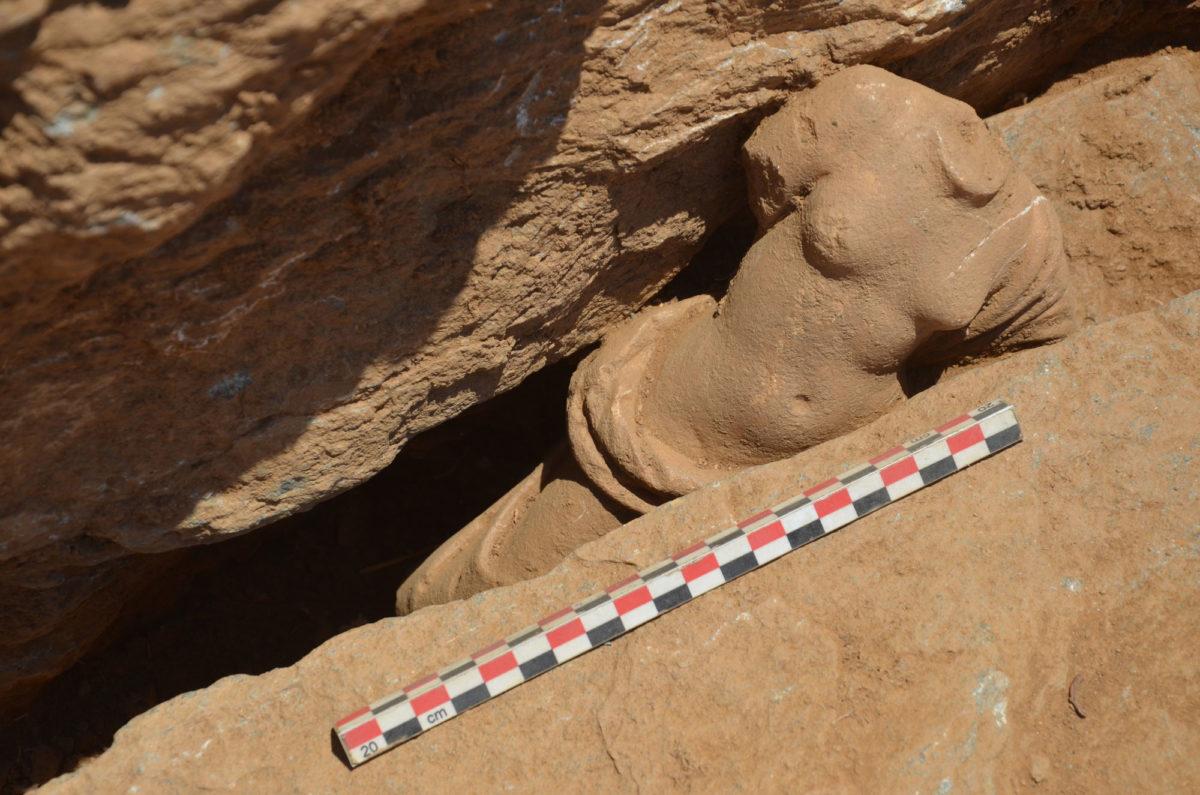 Fig. 13a. Marble statuette of a semi-nude Aphrodite in situ.