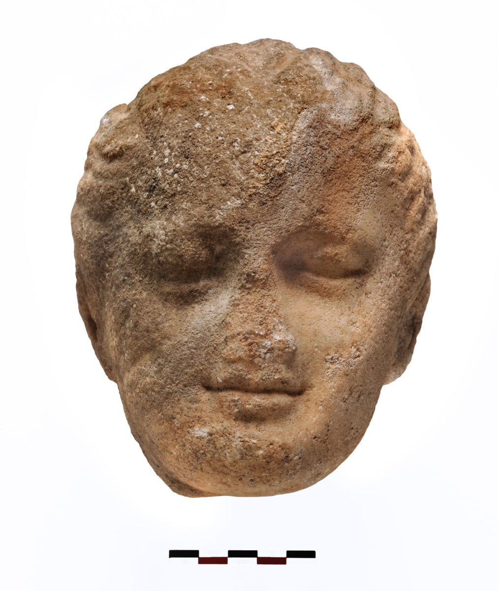 Fig. 6. Marble head of a girl found inside the cistern. Photo Credit: Kostas Xenikakis.
