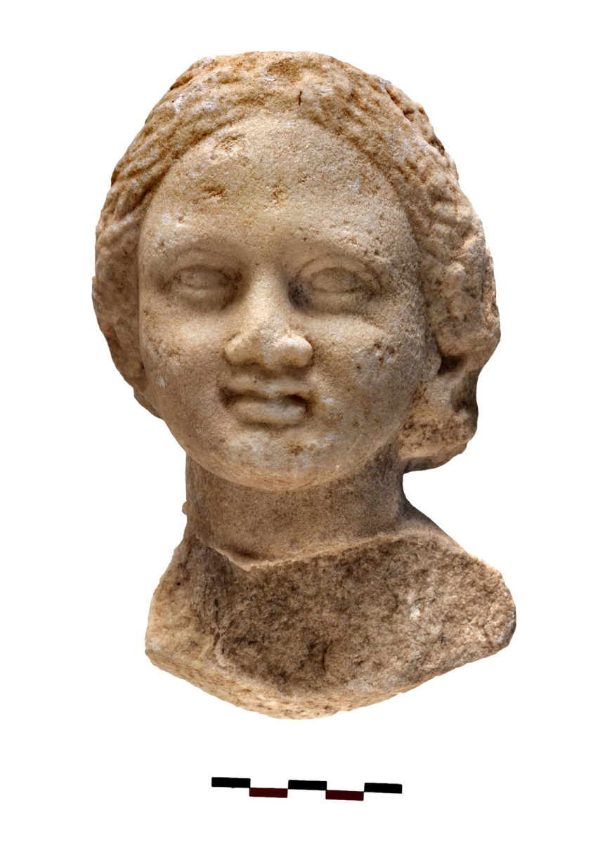 Fig. 7. Marble head of a girl found inside the cistern. Photo Credit: Kostas Xenikakis.
