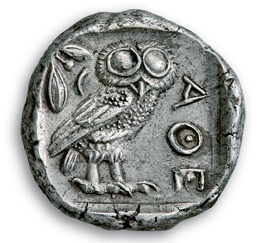 Athenian silver tetradrachm depicting an owl. 440-420 BC. © Athens. Alpha Bank Numismatic Collection. Photo by P. Magoulas.