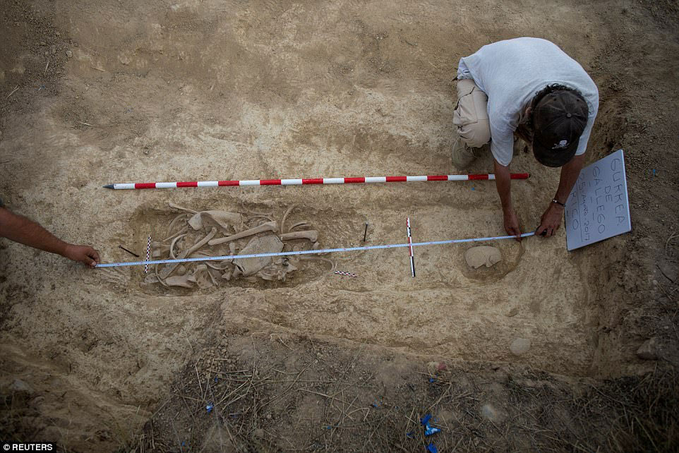 The exhumations were carried out in a cemetery at Valladolid in central Spain (photo: Reuters).
