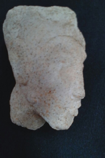 Made of gypsum, the headis 9 cm tall, 13.5 cm long and 8 cm wide.