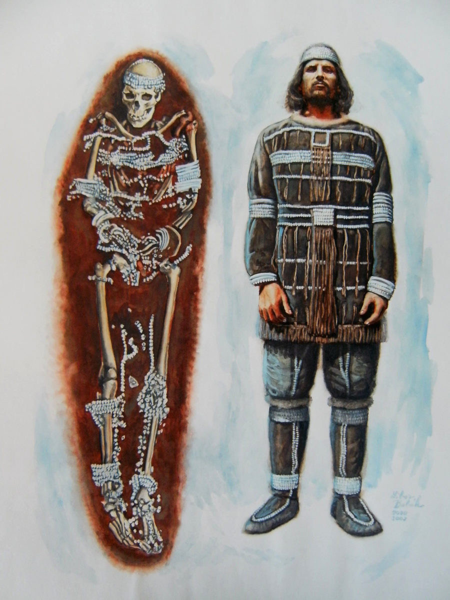 Illustrations of the Sunghir burials. Illustration: Libor Balák, Anthropark.
