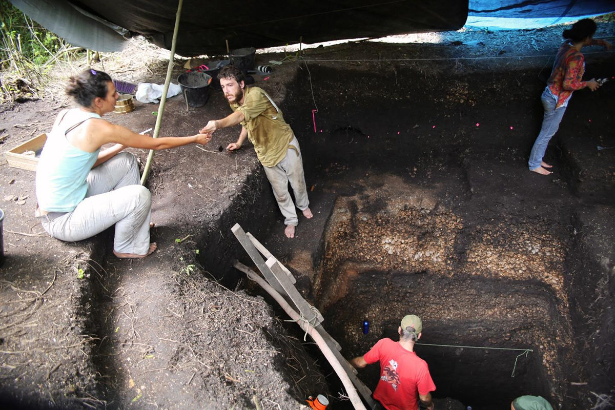 Monte Castelo excavation in progress – collecting samples. Credit: University of Exeter