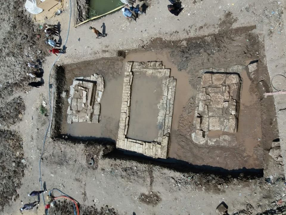 Excavation area of Souq al-Kharnis in the Matariya district.