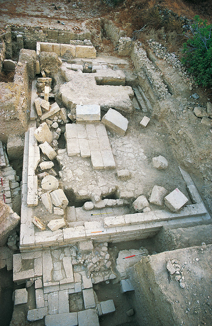 View of the excavation of the sanctuary of Pythian Apollo in Ancient Alasarna.