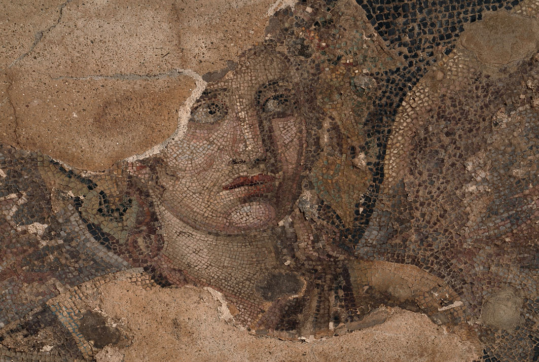 Detail from the mosaic depicting Dionysus riding on a tiger, from the House of Dionysus.