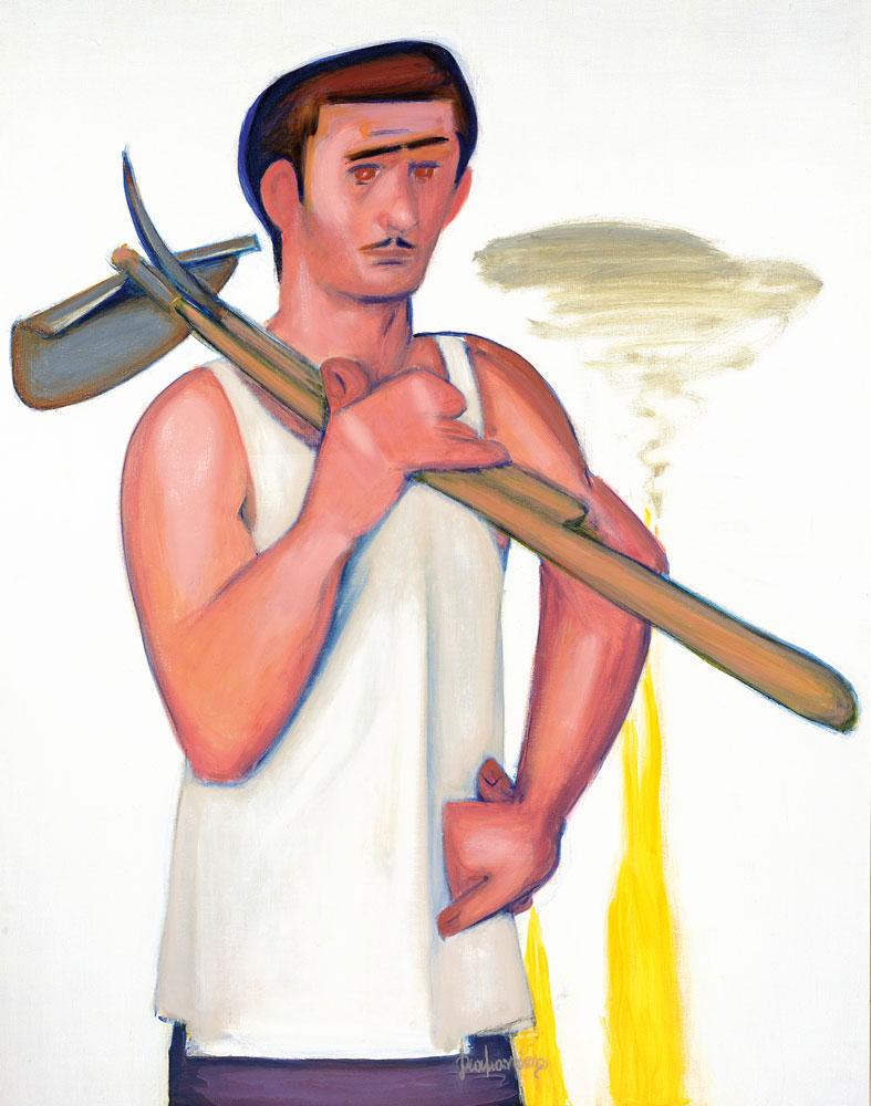 "Diamantis Diamantopoulos , ""The Worker"", oil on canvas,154x121.5 cm (photo: Vergos Auctions)."
