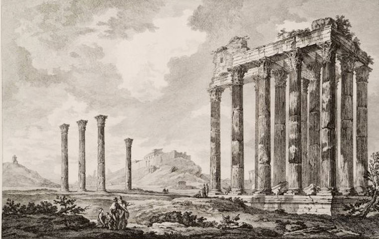 The temple of Olympian Zeus (Olympieion), whose construction began in the time of Peisistratos (6th c. BC) and was completed by the emperor Hadrian (Le Roy, J.D., Les ruines des plus beaux monuments de la Grèce, Paris 1758).