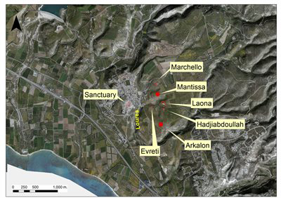 GIS landscape map showing the urban nuclei around the sanctuary.