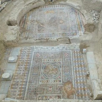 View of the mosaic floor that came to light in Laodicea.