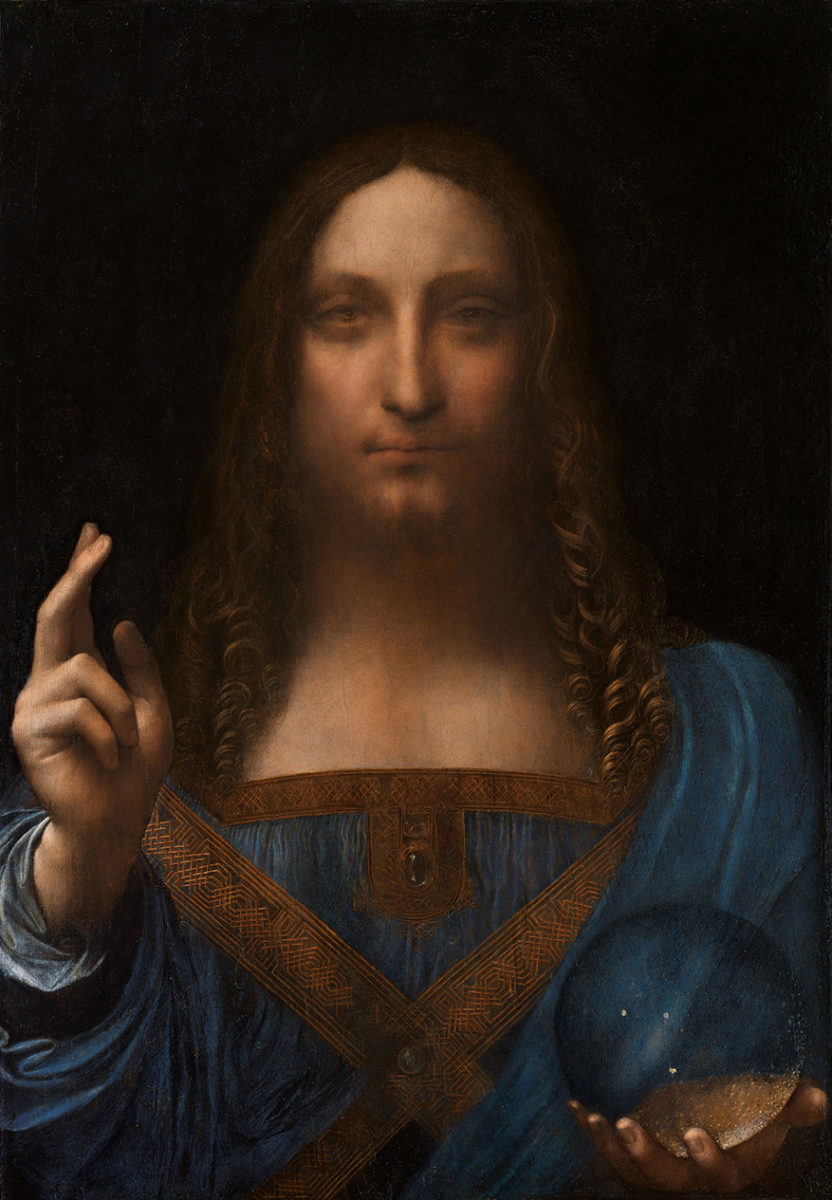 Salvator Mundi, circa 1500. Even now attribution to Leonardo is not universally accepted.