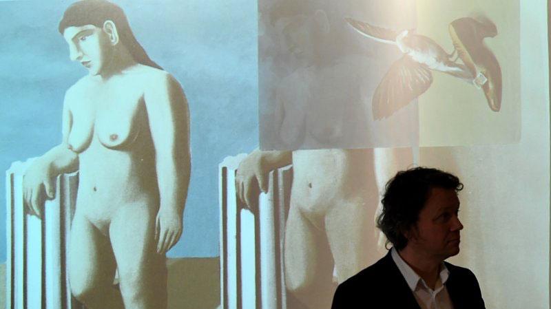 "Virtual Reconstruction of the work ""La Pose Enchantée"", by Rene Magritte. Photo: Emmanuel Dunand/AFP/Getty Images."