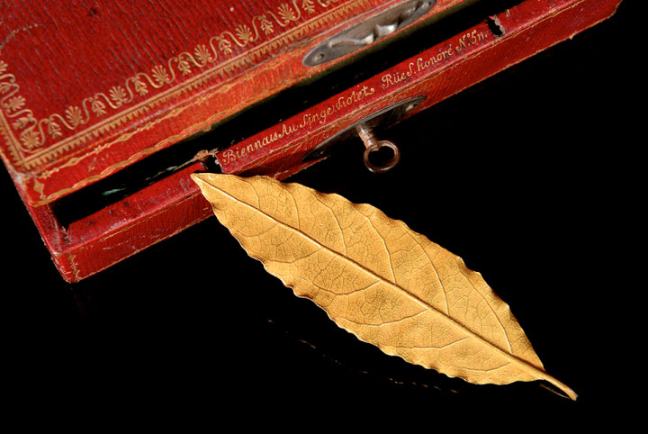 The gold laurel leaf made by the goldsmith Martin-Guillaume Biennais.