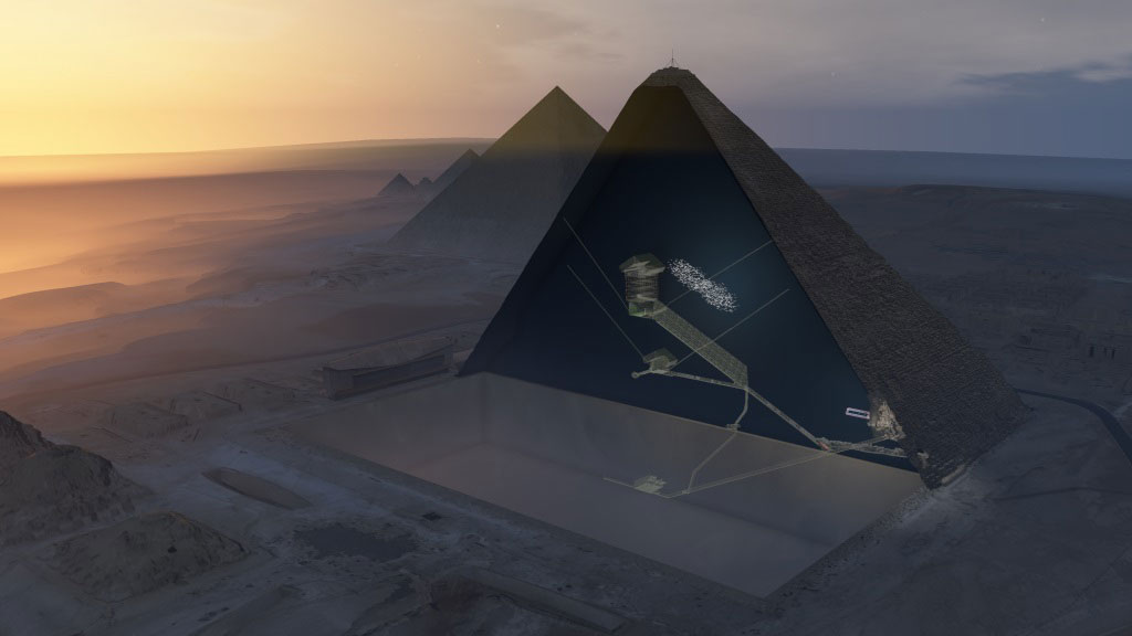 The Cheops Pyramid and the void inside it. Source: ScanPyramids Mission