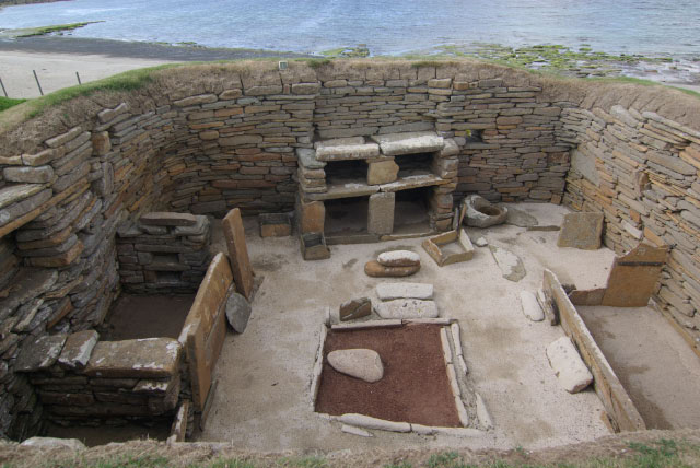 Skara Brae: The remains of this neolithic village were discovered here in 1850. The houses are astonishingly well preserved, including this example of stone furniture, dating back 5,000 years. The village is now very close to the sea although in neolithic times it was further inland.