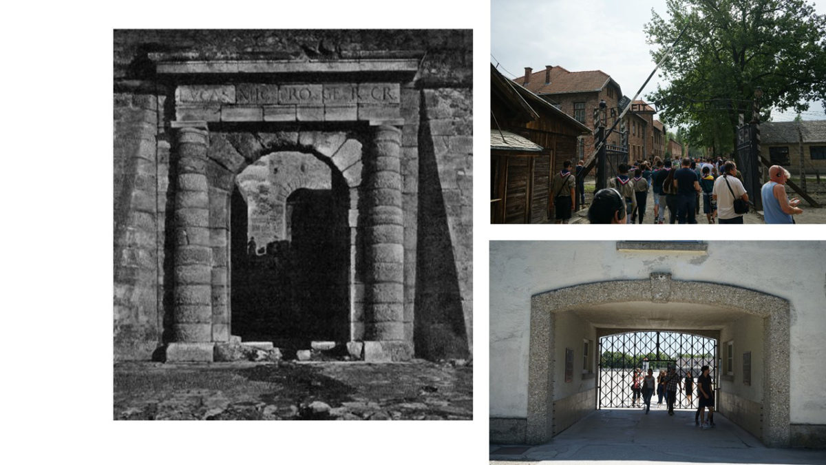 Fig. 5. Porta Maestra (Gerola 1901), Auschwitz Gate (2017), Dachau Gate (2017).