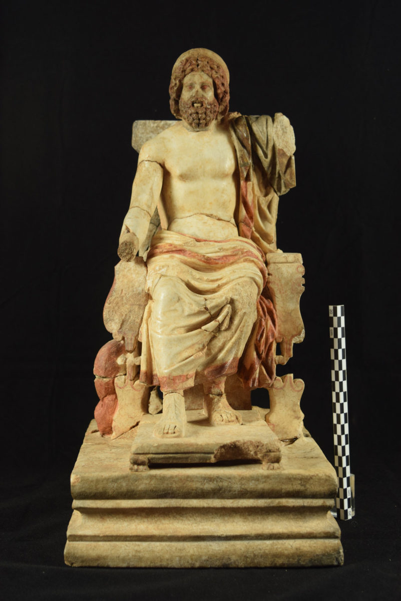 Marble statuette of Asklepios enthroned; a product of an Athenian workshop clearly inspired by the gold and ivory cult statue of the god created by the Parian sculptor Thrasymedes at Epidauros. AD 150 – 200 © Ancient Corinth, Archaeological Museum (photographic archive)