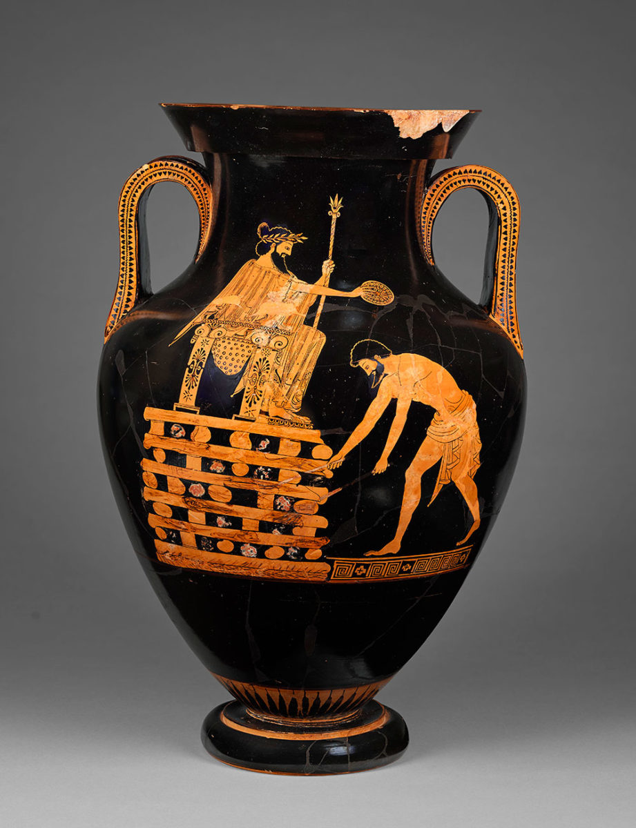 Attic red-figured amphora, attributed to the vase-painter Myson. Depicted is king Kroisos pouring a libation while seated on a throne top of a pyre. 500 – 490 BC © Paris, Musée du Louvre (photo by Tony Querrec)