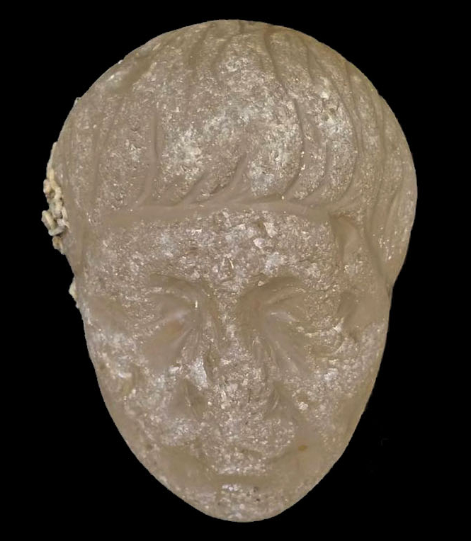 """Roman head carved in crystal that may belong to the Commander of the Roman armies of """"Antonio""""."""