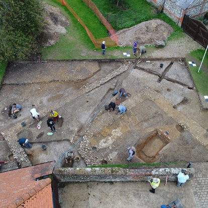 Aerial view of the temple site in Silchester.
