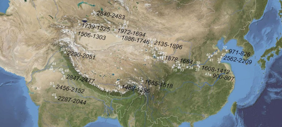 Map of Eurasia shows the oldest radiocarbon-measured dates (BC) for individual grains of barley recovered from each region.