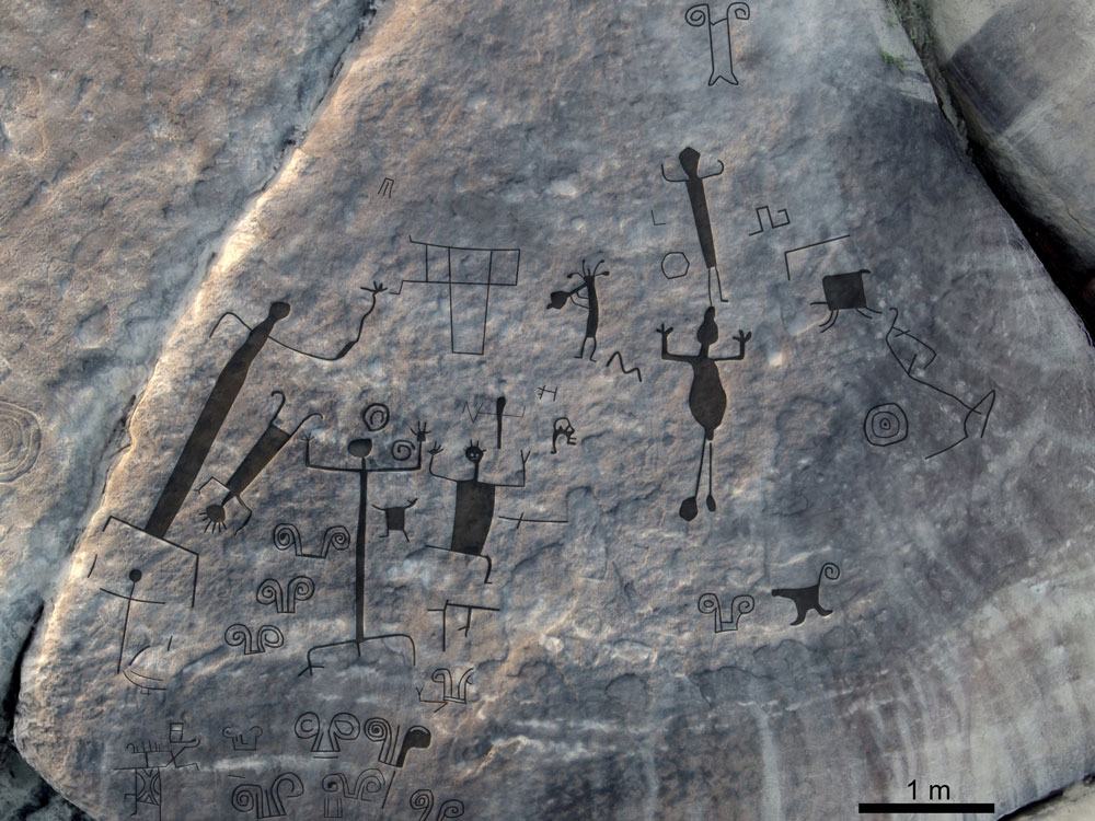 Oblique aerial view of western panel on Picture, with interpretative overlay of main engravings. Credit: Dr Philip Riris