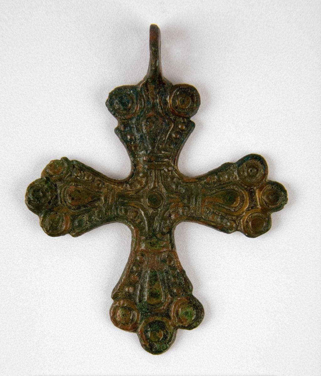 """Scandinavian type"" bronze crucifix. Origin unknown, Belarus, 11th-12th c. (©State Archaeological Museum of Warsaw)"