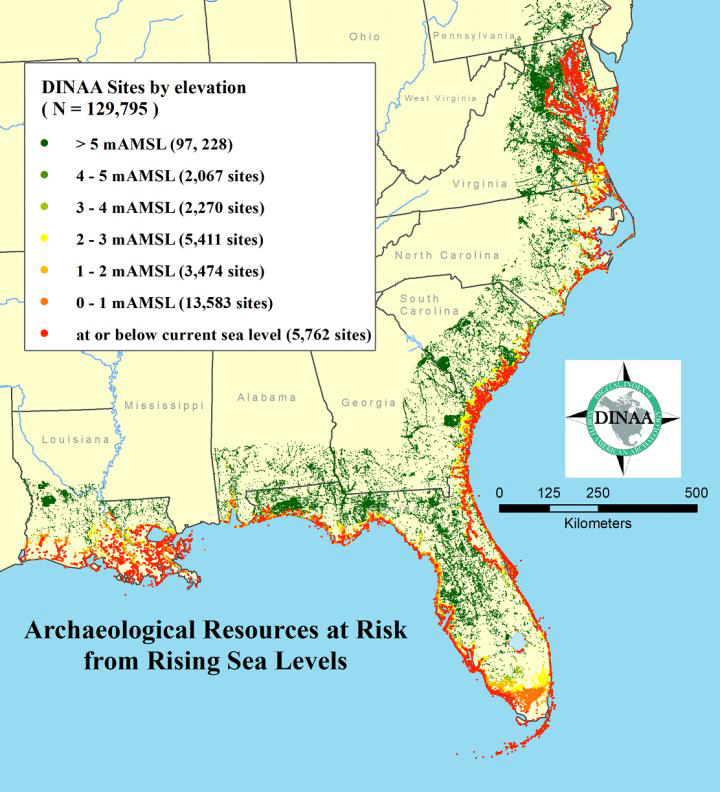 Tens of thousands of known archaeological sites are threatened by sea level rise in the southeast, and far more currently unknown and unrecorded, as shown here at low spatial resolution. Credit: Anderson et al., 2017.