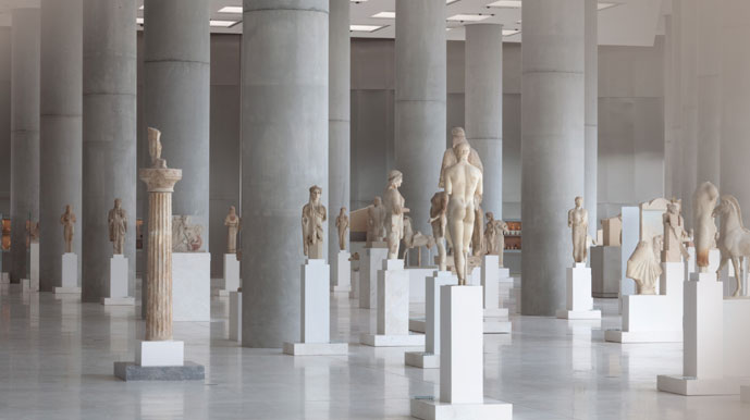 View of the Hall of Archaic Sculpture in the New Acropolis Museum.