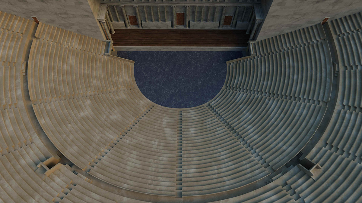 Fig. 3. A 3D Virtual Reality model of the ancient theatre has also been constructed which enables viewers to get an idea of the size and scale of the Antonine phase of the building's history.