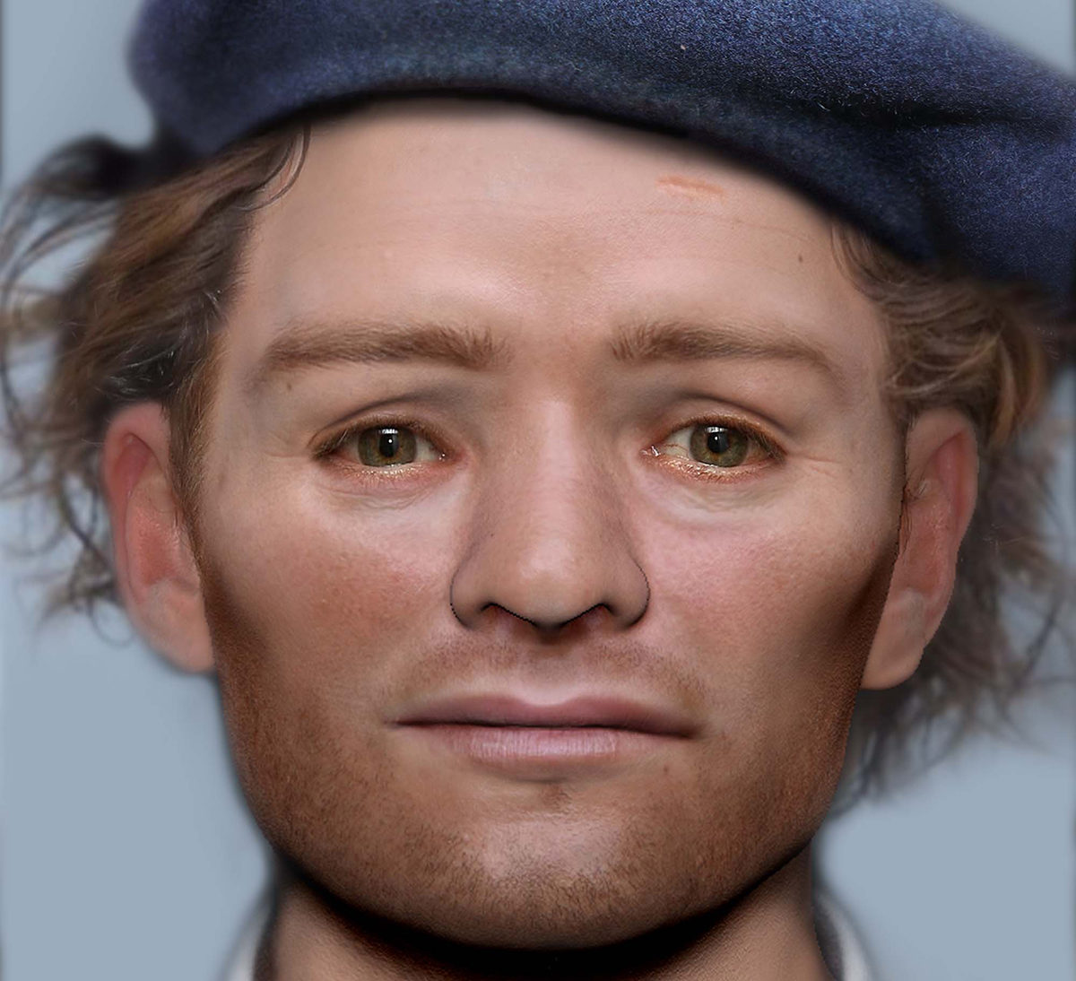 The face of one of the Scottish soldiers who was imprisoned and died in Durham  following the Battle of Dunbar in 1650. Credit: Face Lab LJMU