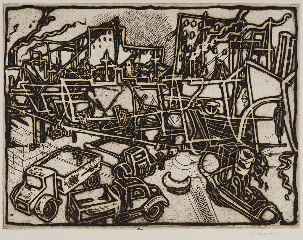 Nikolaos Ventouras, Piraeus 1st / At the port of Piraeus, 1954, copperplate engraving, 20.5x27 cm.