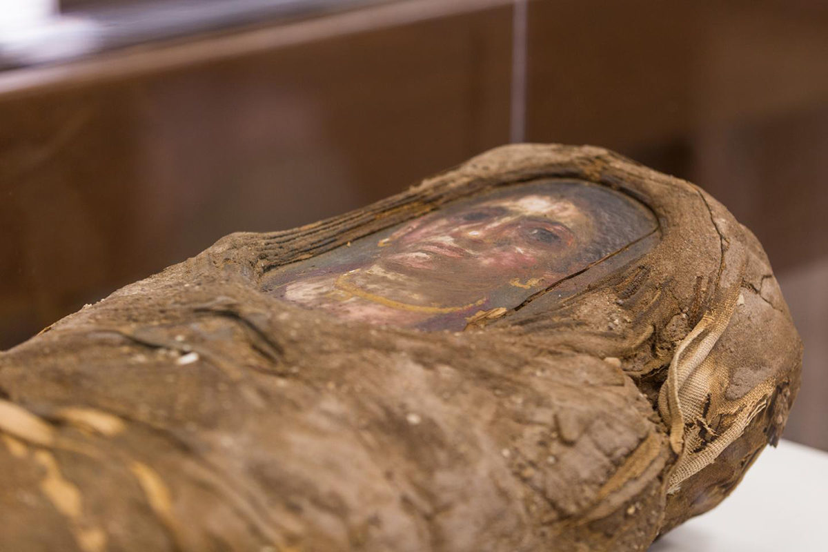 Portrait mummy of a girl, late 1st century CE, mummified remains of 5-year-old girl wrapped in linen, with a portrait in beeswax and pigments on wood. Garrett-Evangelical Theological Seminary, Evanston, Illinois. Credit: Photo courtesy of Northwestern University