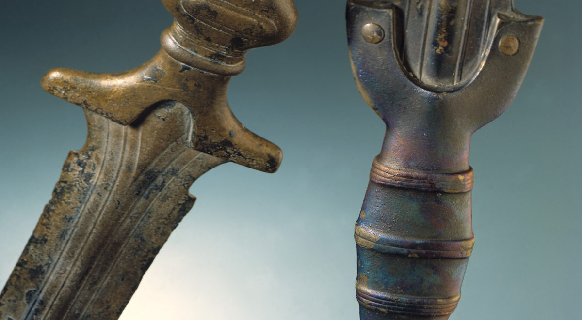 Detail from antenna swords of the Hallstatt B period (c. 10th century BC), found near Lake Neuchâtel (in Auvernier and Cortaillod; Laténium inv. nr. AUV-40315 and CORT-216, respectively)