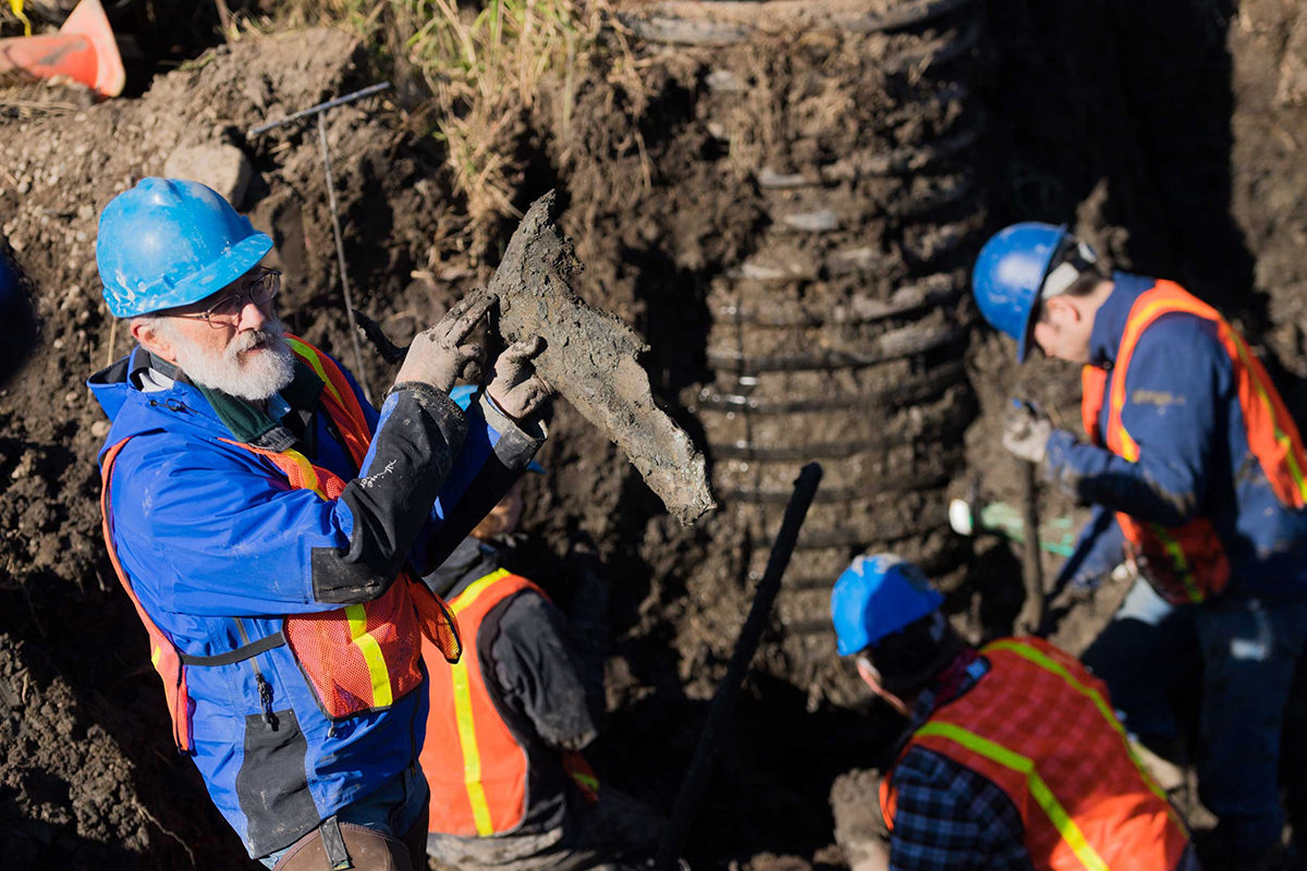 U-M Paleontologist Daniel Fisher holding a piece of the mammoth's right shoulder blade on Nov. 29, 2017. Image credit: Daryl Marshke, Michigan Photography