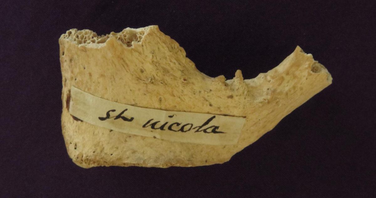 Relic of St Nicholas (pelvis fragment) at St. Martha of Bethany Church/Shrine of All Saints, Morton Grove Ill., USA. Credit Image Copyright: T. Highham & G. Kazan