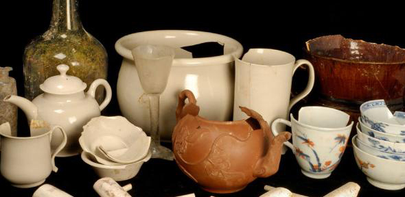 The finds from Clapham's Coffee House, some of which are pictured here, included teapots, wine glasses, and clay pipes. (Image: Cambridge Archaeological Unit). Credit: Cambridge Archaeological Unit