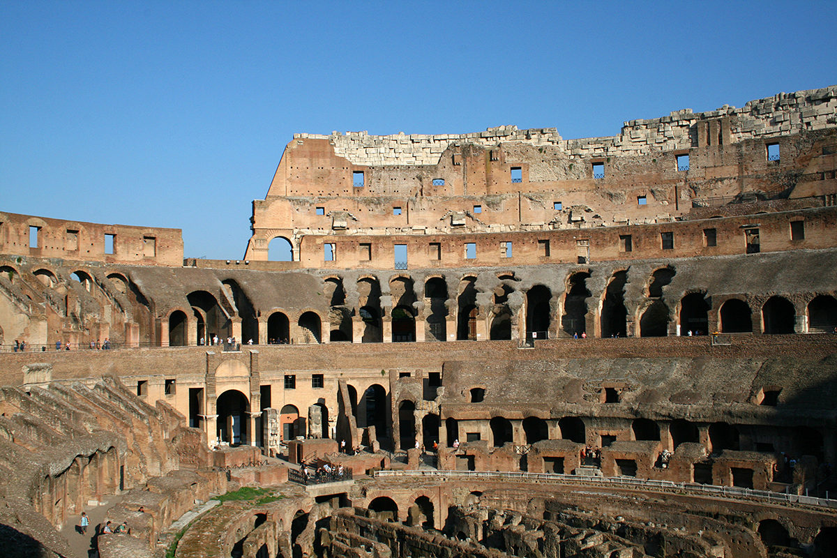 Inside of the Colosseum or Flavian amphitheatre, 70/72 - 80 DC in Rome.