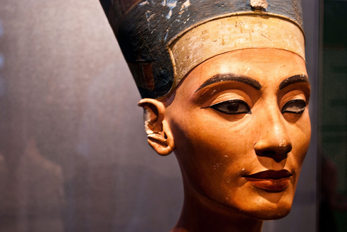 The iconic bust of Nefertiti is part of the Egyptian Museum of Berlin collection, currently on display in the Neues Museum.