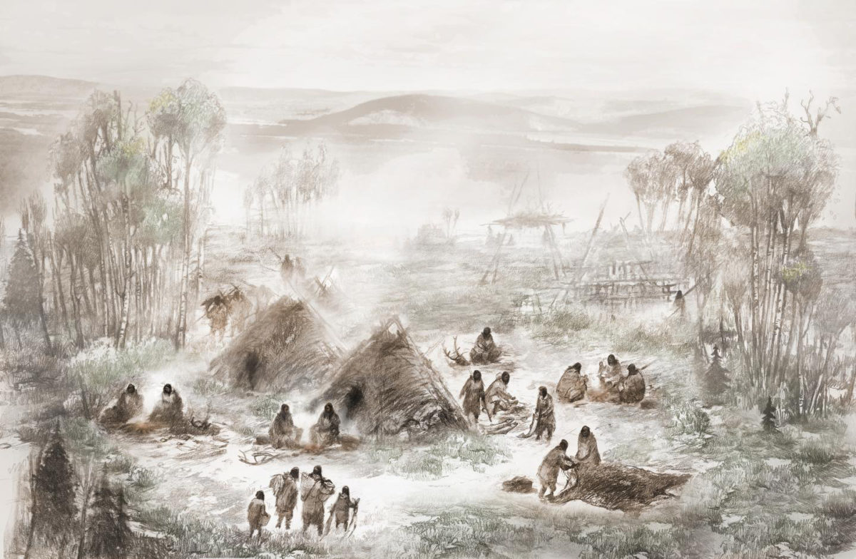 A scientific illustration of the Upward Sun River camp in what is now Interior Alaska. Credit: Illustration by Eric S. Carlson in collaboration with Ben A. Potter.