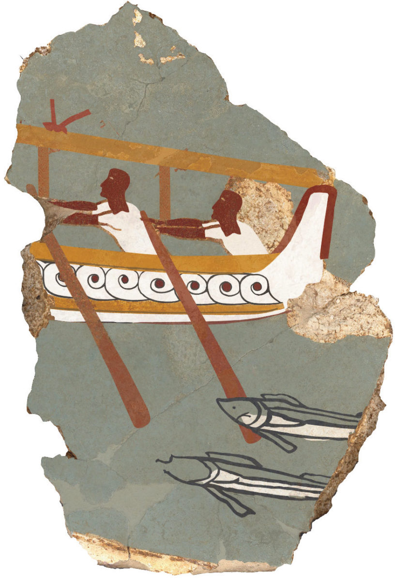 Iklaina: Fragment of wall painting with depiction of a ship.