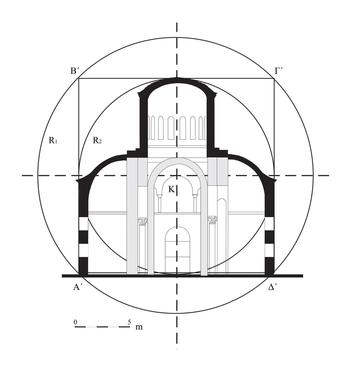 Fig. 7. Cross-sectional view. Geometric planning.