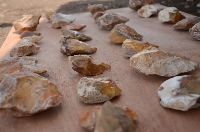 Hundreds of hand axes were uncovered in the excavation. Credit: Samuel Magal, Israel Antiquities Authority.