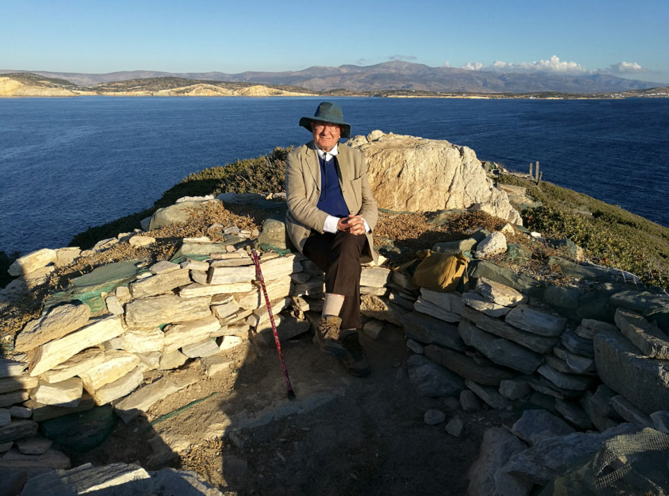Professor Colin Renfrew on the summit of Dhaskalio (source: Ministry of Culture and Sports/British School at Athens).