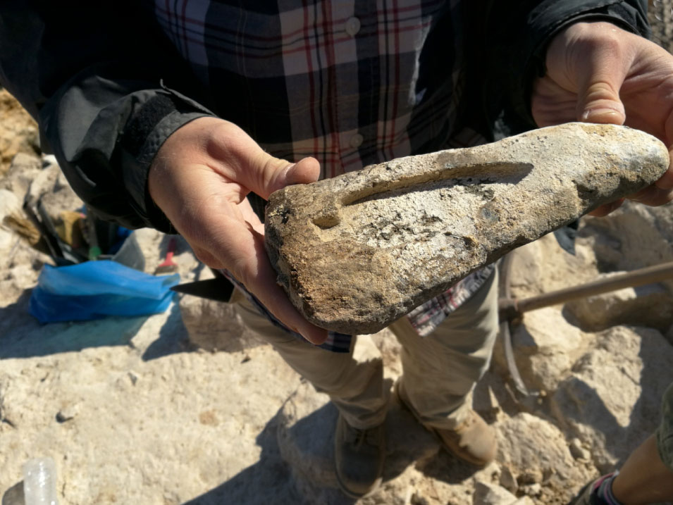 Keros excavations: Stone mould, as it was unearthed, for the crafting of a bronze spear tip (source: Ministry of Culture and Sports/British School at Athens).