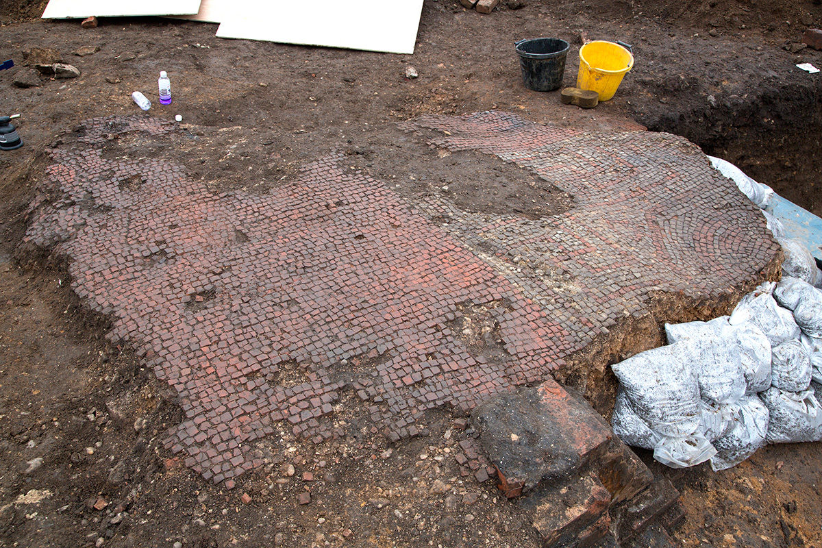 This Roman mosaic is the largest found in Leicester in three decades.
