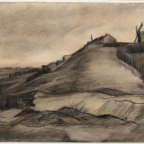 Both 'The Hill of Montmartre with Stone Quarry' and another drawing attributed to Van Gogh