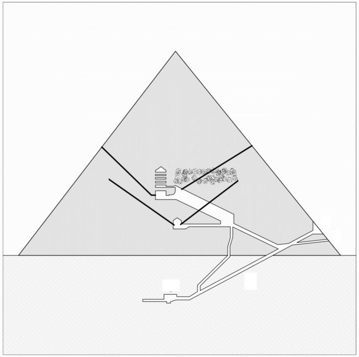 North-south section of the Great Pyramid showing (dust-filled area) the hypothetical project of the chamber, in connection with the lower southern shaft. The upper southern shaft does not intersects the chamber (as instead suggested by the section) because, when viewed in plan, it is displaced to the west with respect to the Great Gallery. Credit: Giulio Magli